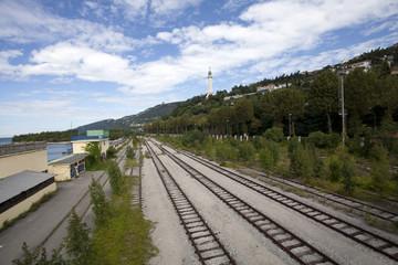 Railroad tracks in summer