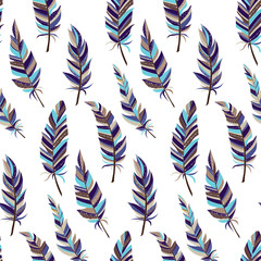 Seamless background with vintage feathers. Boho style. Pattern.
