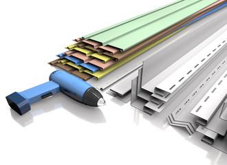 Panel siding, plastic profiles and electric screwdriver (3d illu