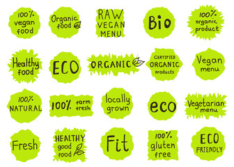 Set  of  100% organic, natural, bio,farm,  raw, eco, healthy foo