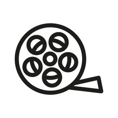 Film reel linear icon. Filming item thin line illustration. Vector isolated outline drawing.