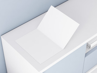 Opened blank leaflet Mockup, greeting card, invitation, postcard, 3d rendering