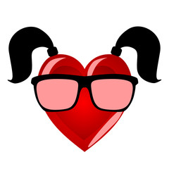 Miss heart. Colorful character personifying a woman in hipster g