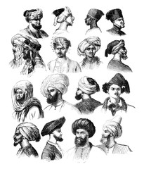 How to adjust the turbans, vintage engraving.
