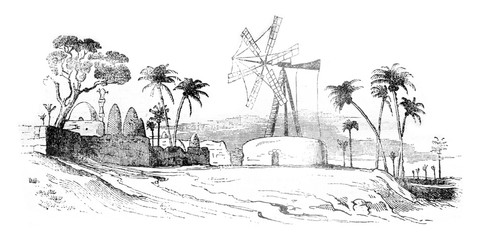 Agriculture in Egypt, Egyptian mill, vintage engraving.