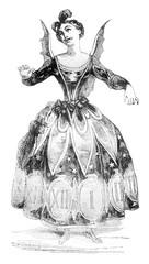 Time costume, vintage engraving.