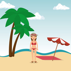 woman tourist avatar character vector illustration design