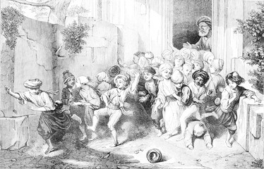 Schools in East, Voy on the Egyptian schools, vintage engraving.