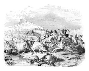 Defeat of Cimbrian, vintage engraving.