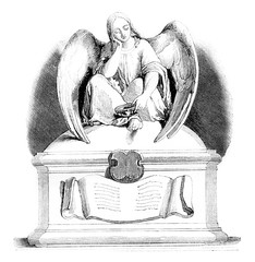 Sculpture, A Throne for the poor, vintage engraving.