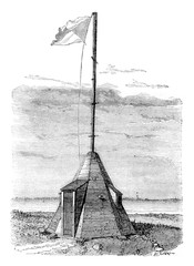 Semaphore Aix Island, Lower Charente, vintage engraving.