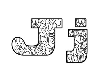 Anti coloring book alphabet, the letter J vector illustration