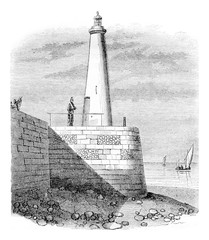 Fire tower Honfleur, vintage engraving.