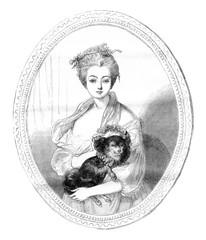 Angers museum., A portrait by Greuze, vintage engraving.