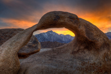 Mobius Arch at sunset, Alabama Hills, Lone Pine, CA, USA Wall mural