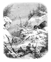 Hunting a bear, in feudal times, vintage engraving.