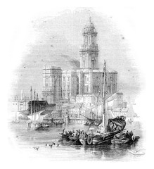 Malaga Cathedral, vintage engraving.