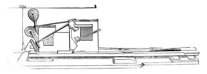 Detail of the mechanics of the piano, vintage engraving.