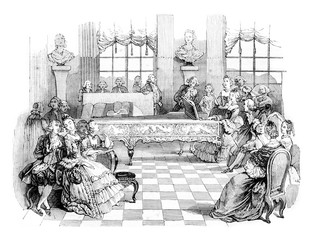 A concert in the eighteenth century, vintage engraving.