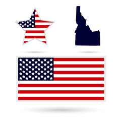 Map of the U.S. state of Idaho on a white background. American f