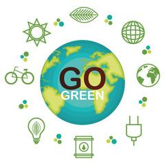 go green ecology poster vector illustration design