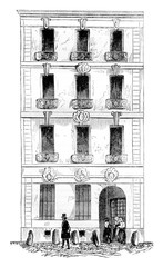 House Law, street Quincampoix, Paris, vintage engraving.