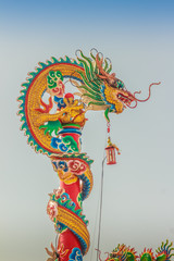 Beautiful Dragons Sculpture on the Chinese Pavilion Roof in the Chinese Temple
