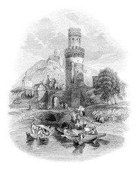 View of the castle Oberwesel on the Rhine, vintage engraving.