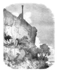 Castle of ruins Rocks, near Tours, vintage engraving.