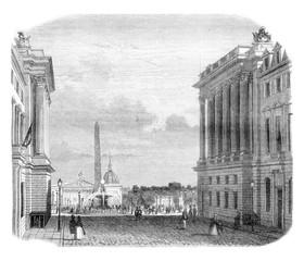 View of the Place de la Concorde, vintage engraving.