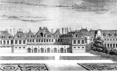 Palace of Cardinal Richelieu, from the Royal Palace, vintage eng