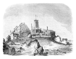 View of the provisional lighthouse and dwelling on the rock of H