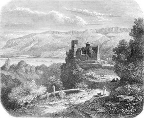 Castle Rochechinard, vintage engraving.