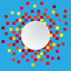 White paper circle banner and Pixel background. Vector