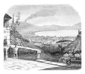 Naples, vintage engraving.