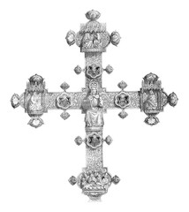 Reverse of the Cross of Lanciano, vintage engraving.