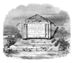 High tomb in La Tour d'Auvergne on the battlefield, vintage engr