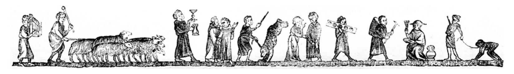 Menetrier, Shepherd, Shouter of wine, Juggler, Showing off her p