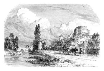 View of Montrichard, Loir et Cher, vintage engraving.