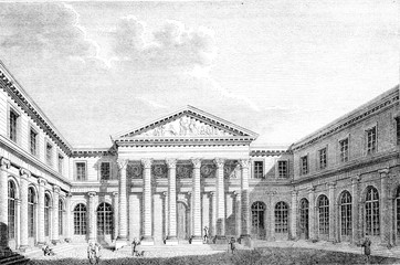 View of the School of Medicine of Paris, vintage engraving.