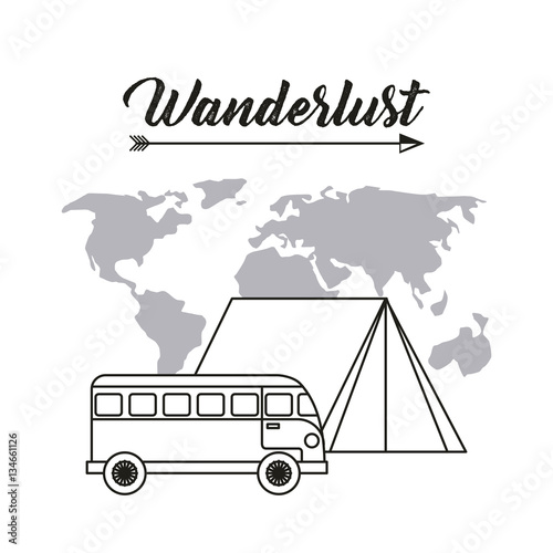 wanderlust design with bus and world map icon  black and