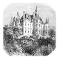 View of the castle Boursault, vintage engraving.