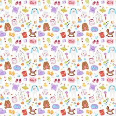 Baby icons seamless pattern vector.