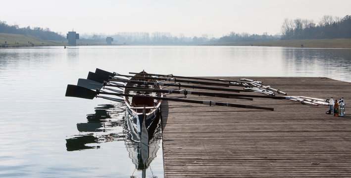 Rowing eight, ready for a training session