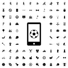 football on phone icon illustration