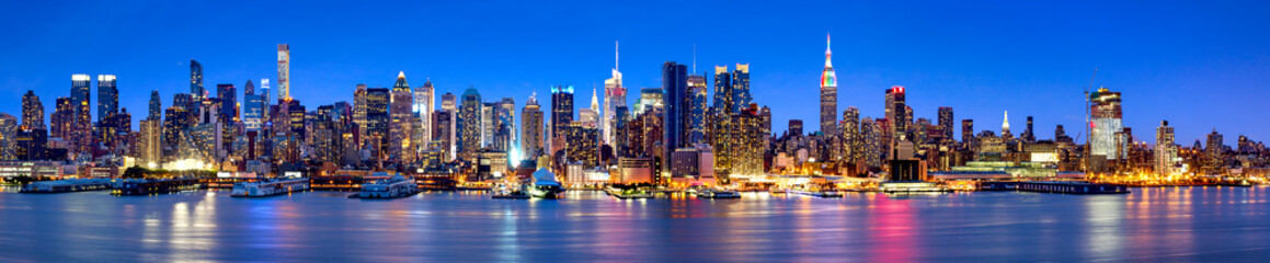 Spoed Fotobehang New York City Manhattan Skyline Panorama bei Nacht
