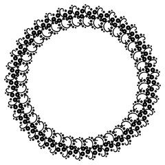 Round black and white frame with abstract decorative flowers. Copy space.