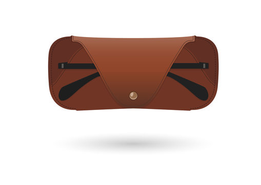 Leather spectacle case with eyeglasses
