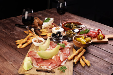 Italian antipasti wine snacks set. Cheese variety, Mediterranean