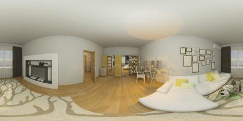 3d illustration 360 degrees panorama of living room nterior design
